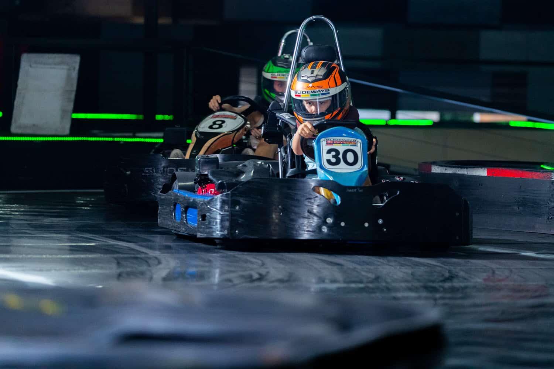 On the indoor go kart track